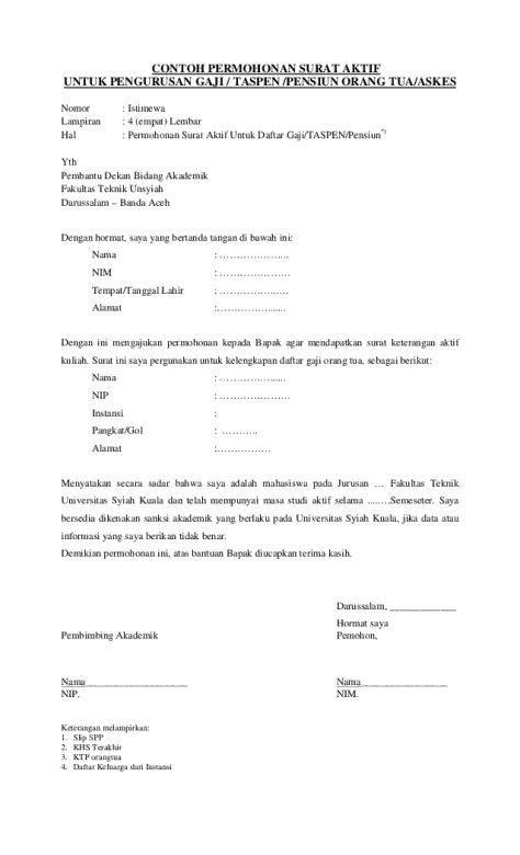 Surat Permohonan Masih Aktif Kuliah Contoh Surat