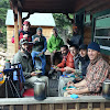 Nic's Party of Men up at Noku Hut enjoying breakfast after a night of scotch and Wendell Berry. Thanks to Jim (Papa) Koontz for the photo!