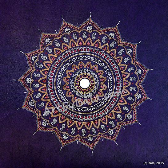henna style acrylic mandala painting