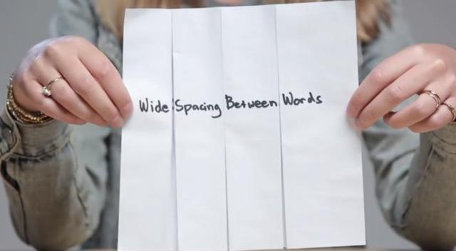tulisan tangan lebar
