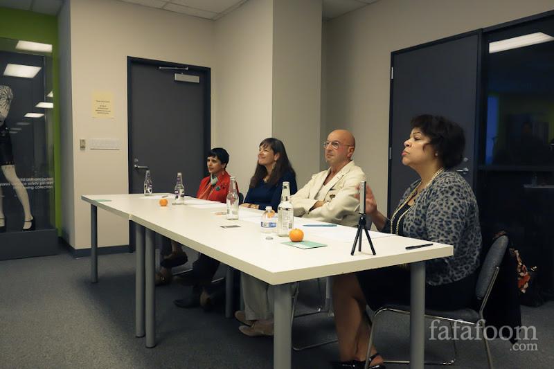 The judges panel. From left to right: Geetika Gupta, Liz Rossof, Michael Rosen, Gwendolyn Wright.