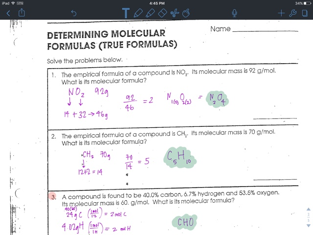 Liakeenerchemistry Worksheet on Empirical Formulas Percent – Gram Formula Mass Worksheet