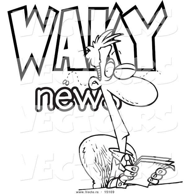Vector Of Cartoon Waky News Anchor Coloring Page Outline By Ron Leishman   Cartoon