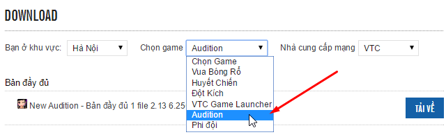 Chọn game Audition
