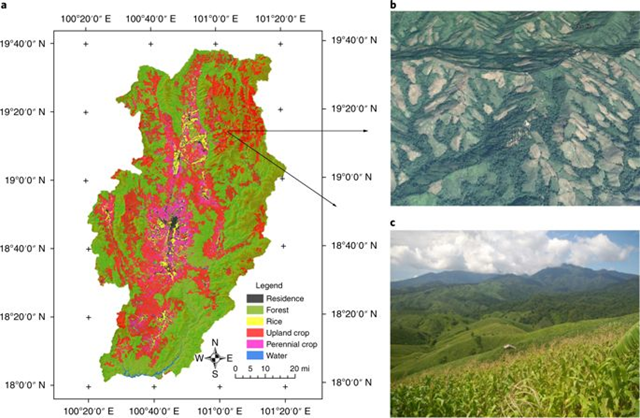 Cropland expansion along topographical frontiers in the twenty-first century in Nan province, Thailand. Graphic: Zeng, et al., 2018 / Nature Geoscience
