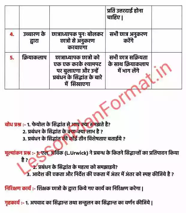 B.ed Lesson Plan of Business Studies in Hindi