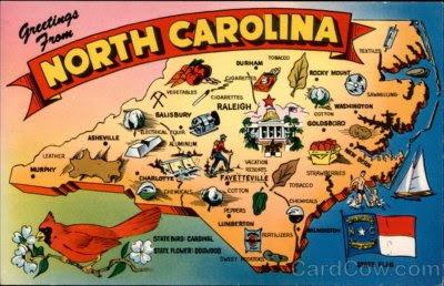 North Carolina, USA, postcards, map card