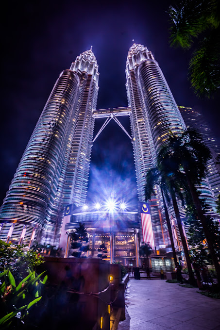 Twin Towers night view main entrance2