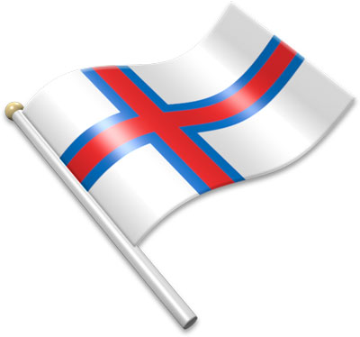 The Faroese flag on a flagpole clipart image