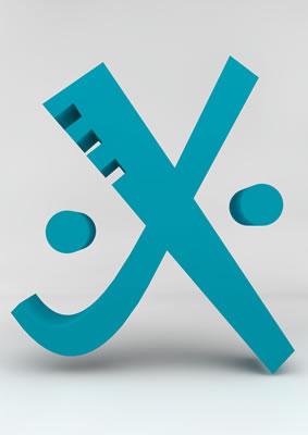 lettre 3D homme joker turquoise - X - images libres de droit