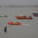 23 December 2012 - Poole and Swanage inshore lifeboats and a safety boat from Parkstone Yacht Club conduct a line abreast search of Whitley Lake in Poole Harbour.  Photo credit: Liam McKenna, Poole/RNLI