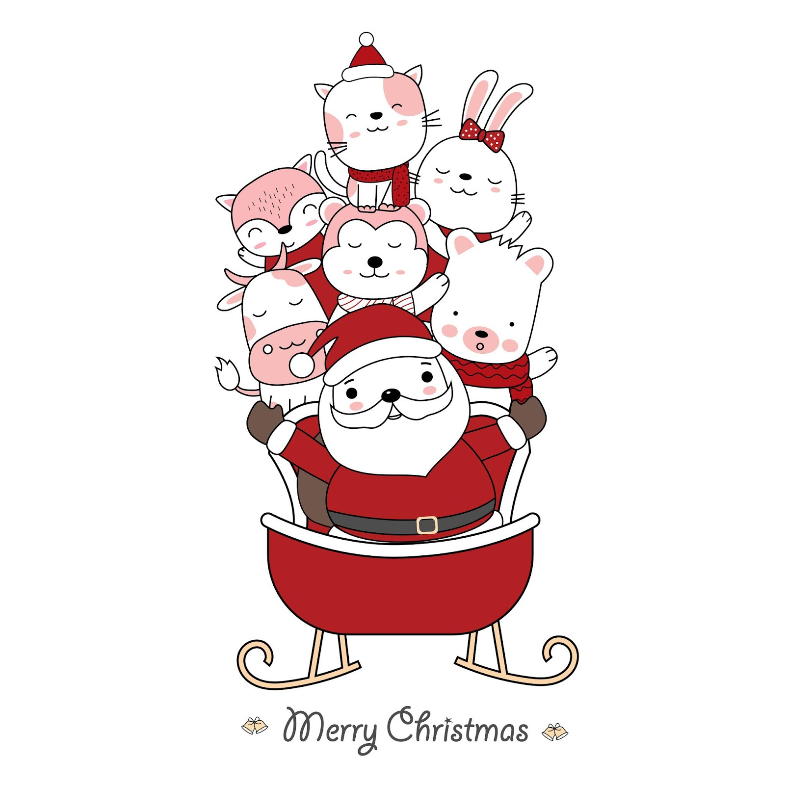 Christmas Greeting Card Design With Santa Claus Cute Baby Animal With Santa Car Hand Drawn Cartoon Style Vector Illustration Free Download Vector CDR, AI, EPS and PNG Formats
