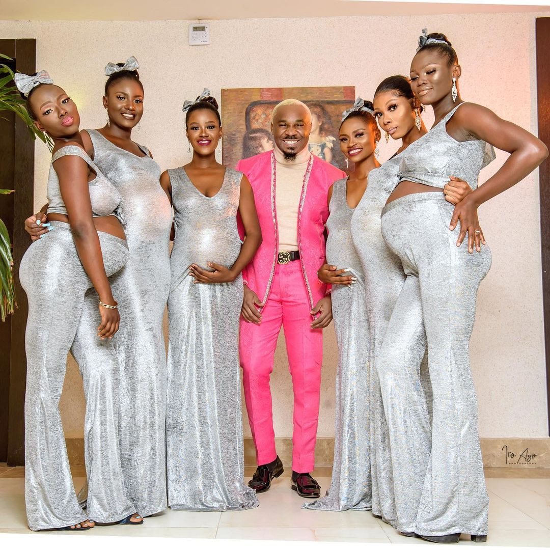 Pretty Mike attends Williams Uchemba's wedding with an entourage of heavily pregnant women (video/photo)