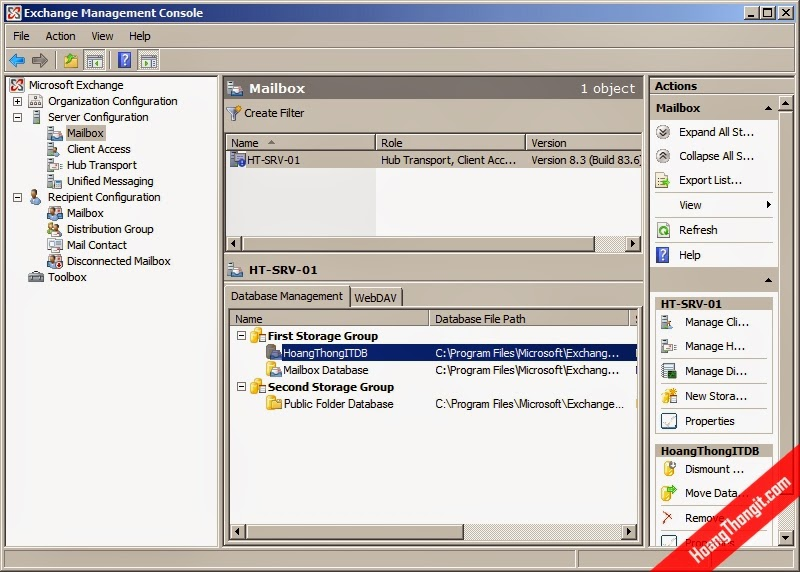 Tạo thêm 1 mailbox database trên Mail Exchange Server 2007