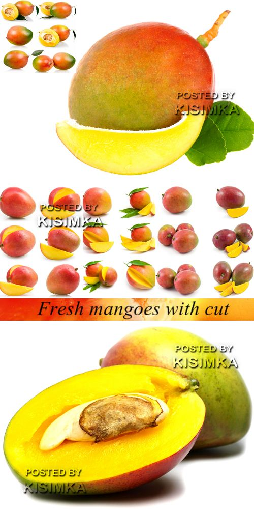 Stock Photo: Fresh mangoes with cut