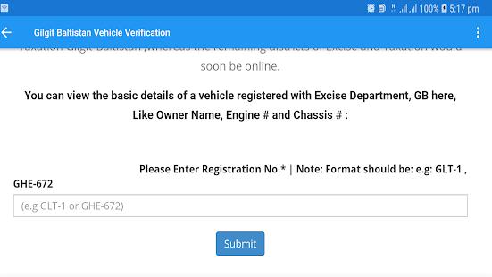 PAK Vehicle Registered Record Screenshot