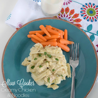 Slow Cooker Creamy Chicken & Noodles.