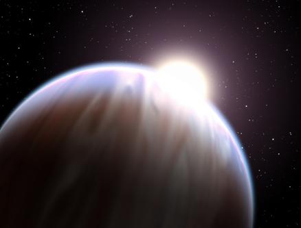 ilustração de um exoplaneta orbitando uma estrela quente