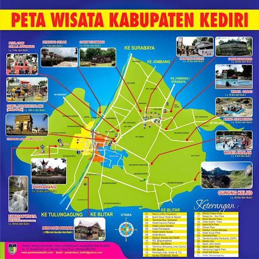 Peta wisata di kab.Kediri