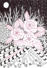 596 Zentangle Night Roses