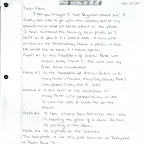 letter describing the pictures, page 1. She sent this to our cousin Glenn Porter in 2005.