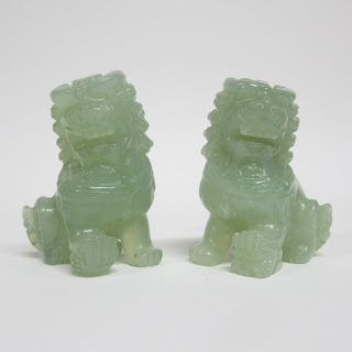 Green Stone Foo Lion Pair