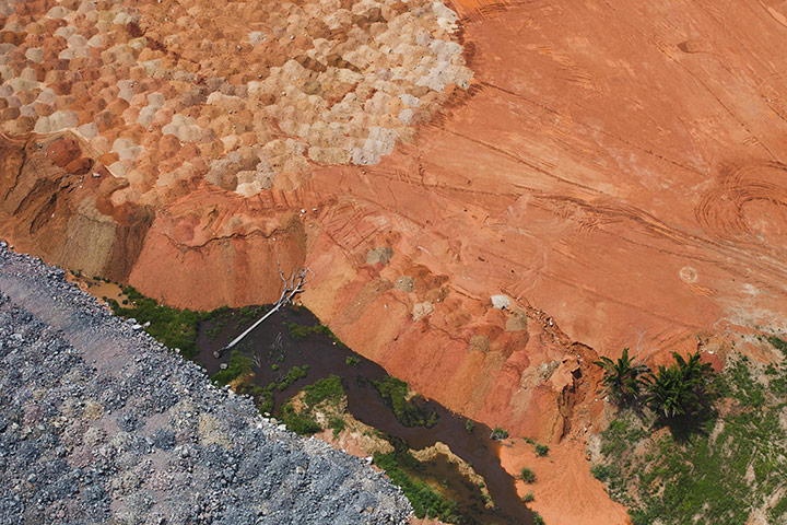Aerial photographs taken by Greenpeace reveal that considerable clearing of land has already begun. Photograph: Daniel Beltrá/Greenpeace