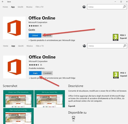 Come installare gratis Office Online in Edge di Windows 10 dallo Store.