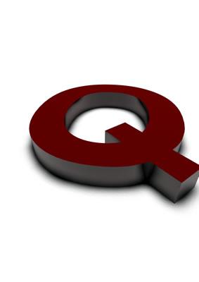 lettre 3D rouge de Chine - Q - images libres de droit