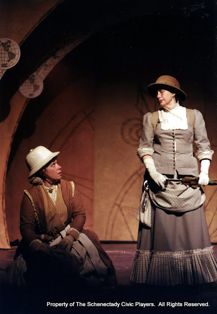 Christine Boice Saplin and Rita Russell in ON THE VERGE - January/February 2000.  Property of The Schenectady Civic Players Theater Archive.