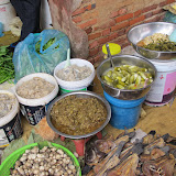 Various pickles and fermented fish (prahok) in Battambang market