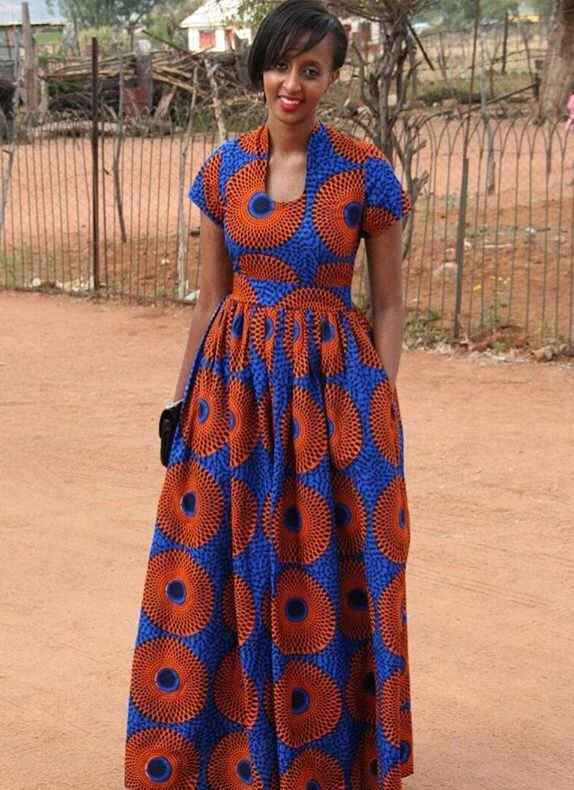 Womens In Blue Shweshwe Dresses 2017 2018 - Styles Art-7374
