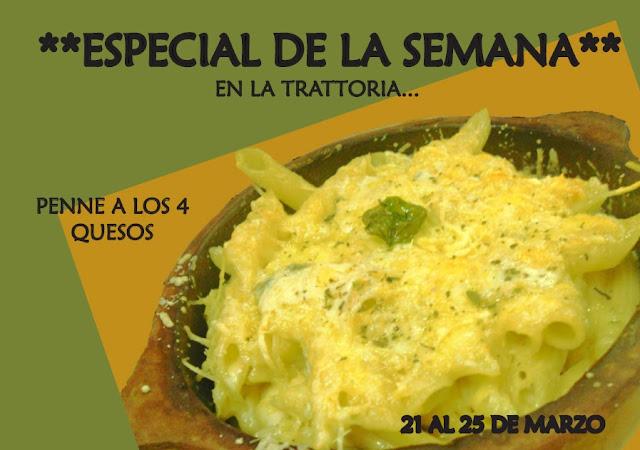 Penne a los 4 quesos: Plato especial de la semana disponible en la Trattoria, creado por estudiantes USFQ de Arte Culinario