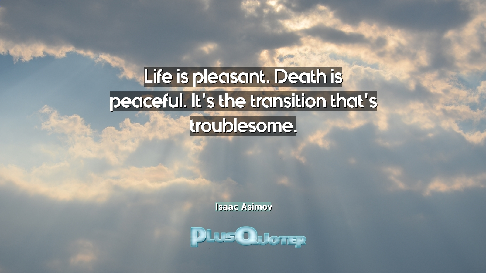 Quotes For Life And Death Life Is Pleasantdeath Is Peacefulit's The Transition That's