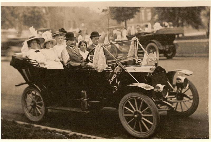 Gould_Wm Val in car with wife and others in parade_circa unknown