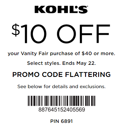 Kohls coupon $10 off $40 Vanity Fair purchase