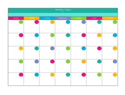 free colorful blank calendar