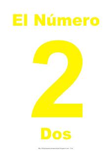 Lámina para imprimir el número dos en color Amarillo