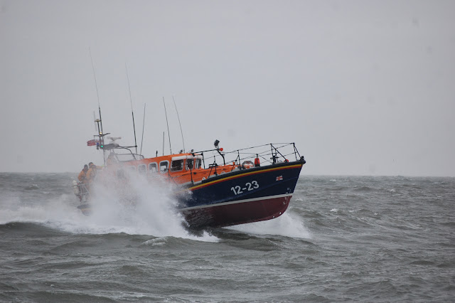 Swanage lifeboat during a training exercise with Poole all-weather lifeboat in Poole Bay on Sunday 23 February 2014. Photo: RNLI/Dave Riley