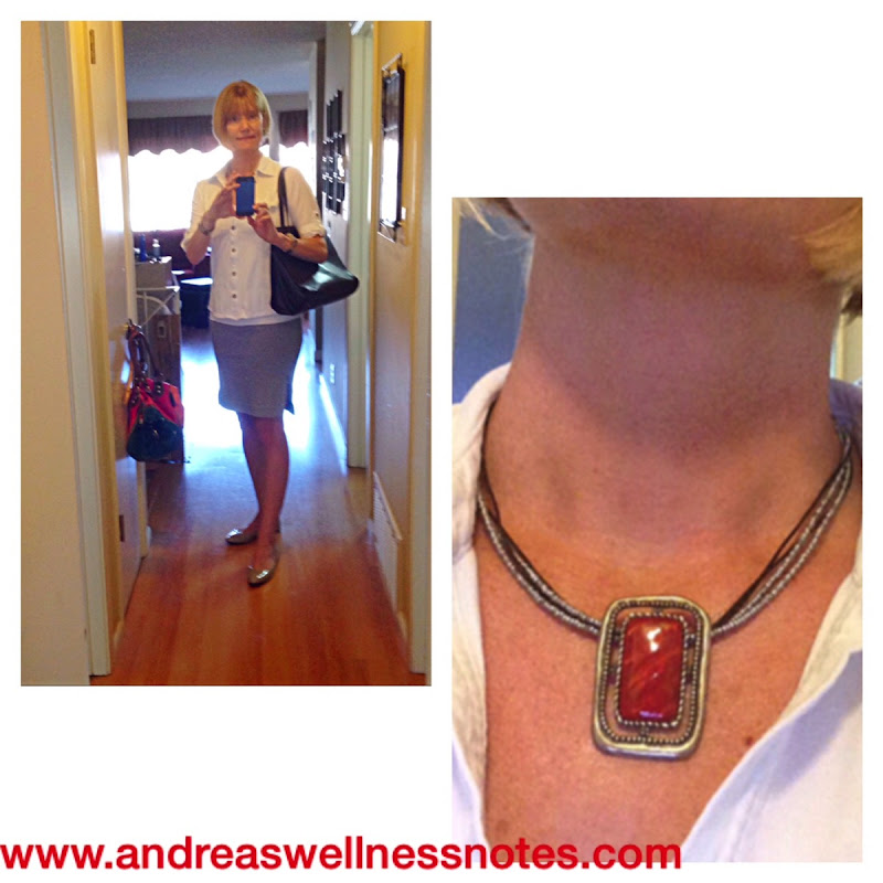 Pencil skirt  red necklace