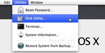 Mengakses disk utility
