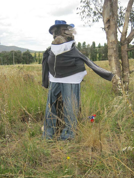 tree stump scarecrow