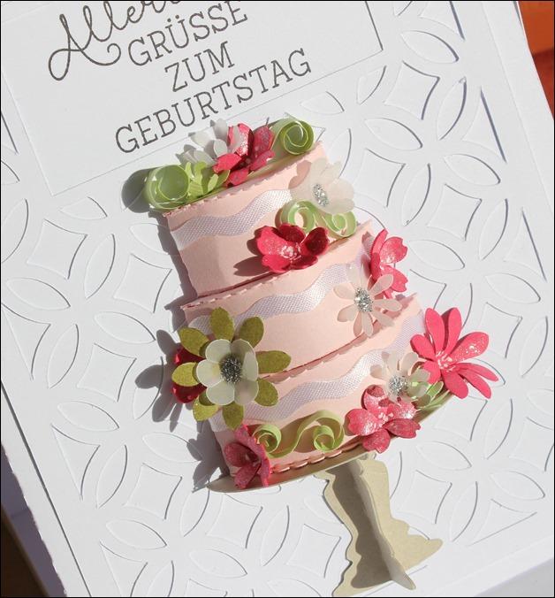 3D Cake Torte Hochzeit Geburtstag Wedding Birthday Quilling Flowers Card Karte 8