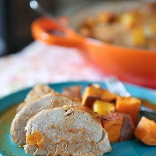 Maple Mustard Roasted Pork Tenderloin with Sweet Potatoes and Mango.