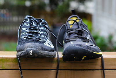 front view of the NB Minimus Trail and the Inov-8 f-lite 230