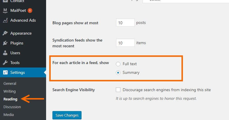 WordPress RSS Feed Settings