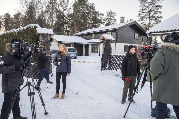 Journalists work outside of the house of Norwegian multi-millionaire Tom Hagen in Fjellhamar, East of Oslo, Norway, on January 9 2019 as his wife Anne-Elisabeth Falkevik missing for 10 weeks is believed to have been kidnapped.