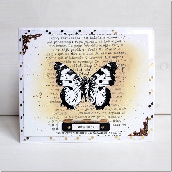 Card farfalla con tecnica Masking