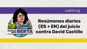 Tägliche Berichte (es + en) über den Prozess gegen David Castillo