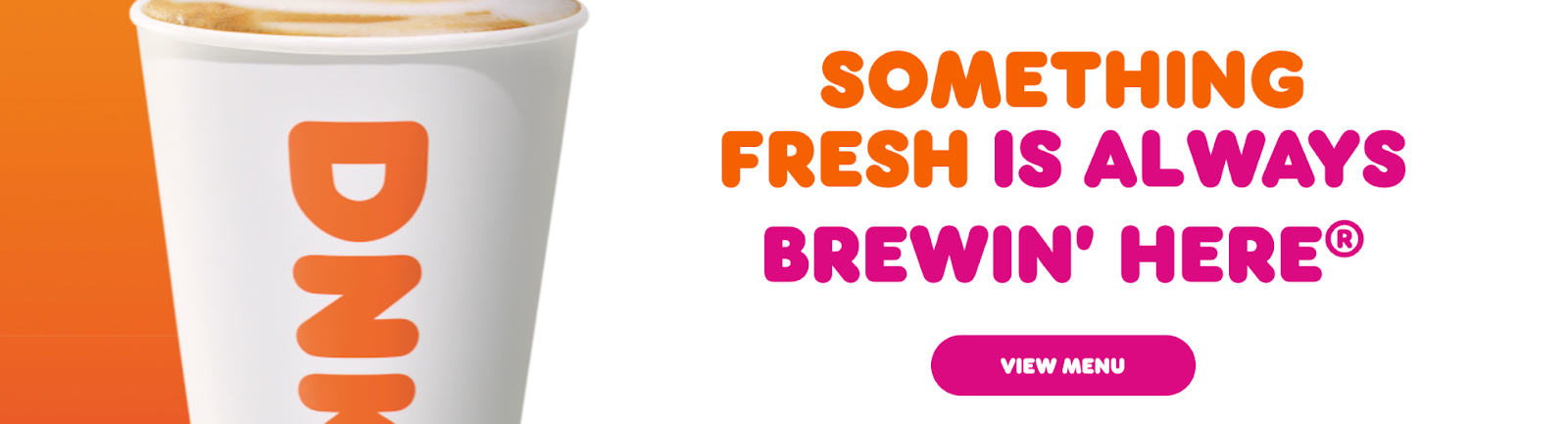Dunkin Donut's catchy landing page.